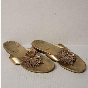 Coach Gold Metallic Thong Sandals